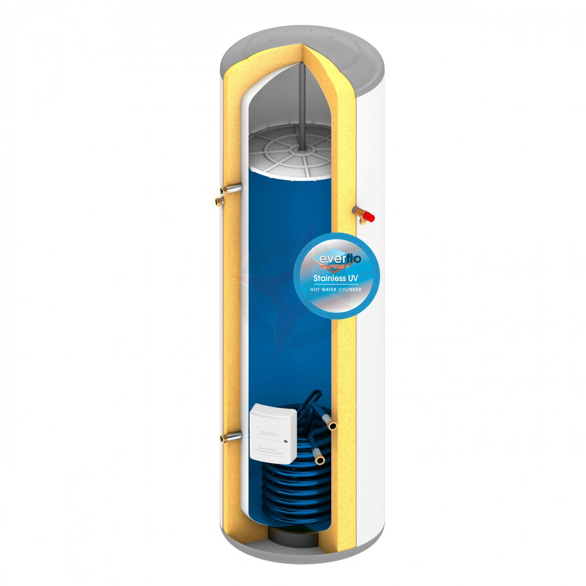 everflo Rapide+ 210L Indirect Unvented Hot Water Storage Cylinder ...
