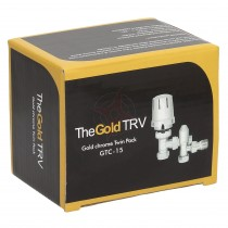 Gold Contract 15mm Angled Full Chrome TRV & Lockshield Twin Pack