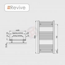 Straight Chrome, 1000h x 600w Towel Warmer
