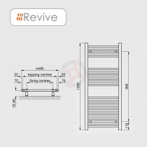 Straight White 1200h x 400w Towel Warmer