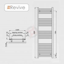 Straight White 1600h x 400w Towel Warmer