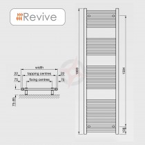 CLEARANCE - Straight Chrome, 1800h x 400w Towel Warmer