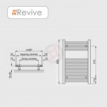 Straight White, 800h x 500w Towel Warmer