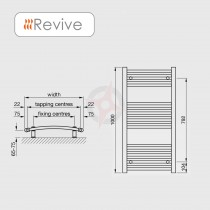 Curved Chrome, 1000h x 500w Towel Warmer