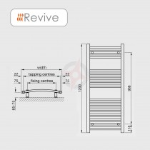 Curved Chrome, 1200h x 600w Towel Warmer