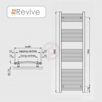 Curved Chrome, 1600h x 600w Towel Warmer
