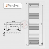 Curved Chrome, 1800h x 500w Towel Warmer