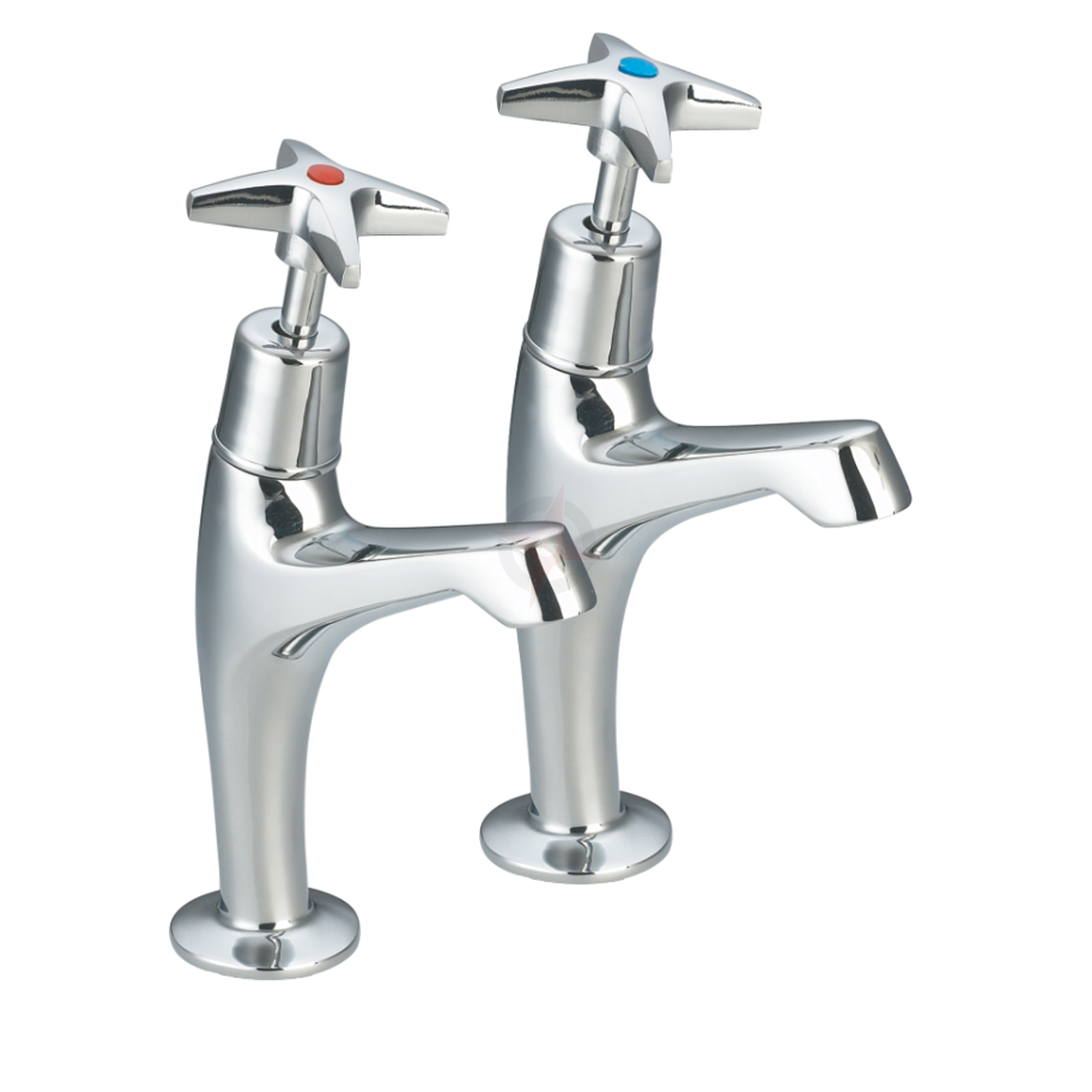 Lavata Cross Head High Neck Kitchen Sink Taps (Pair)
