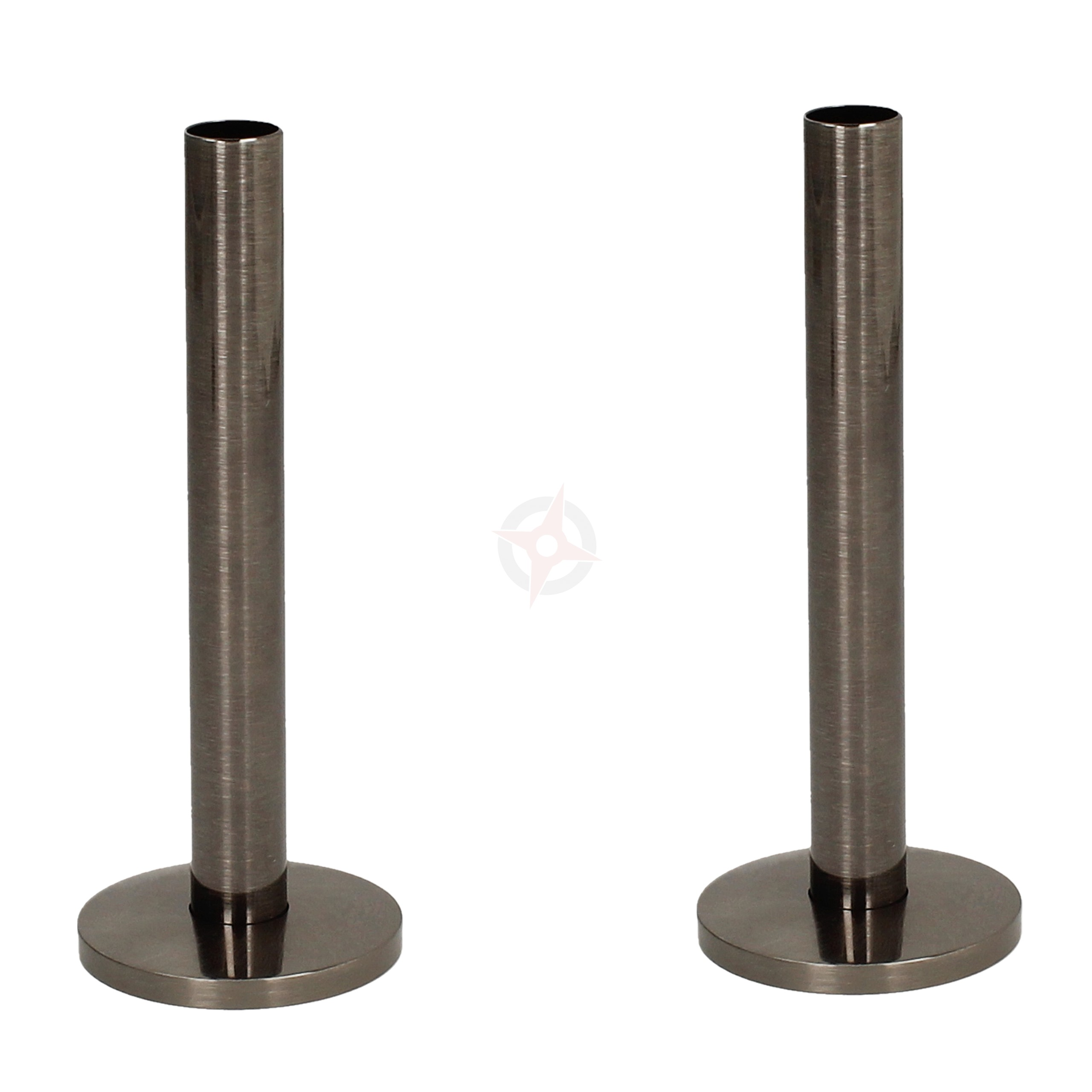 Black Nickel 15mm x 130mm Pipe Tails and Decoration Floor Plates (Pair)