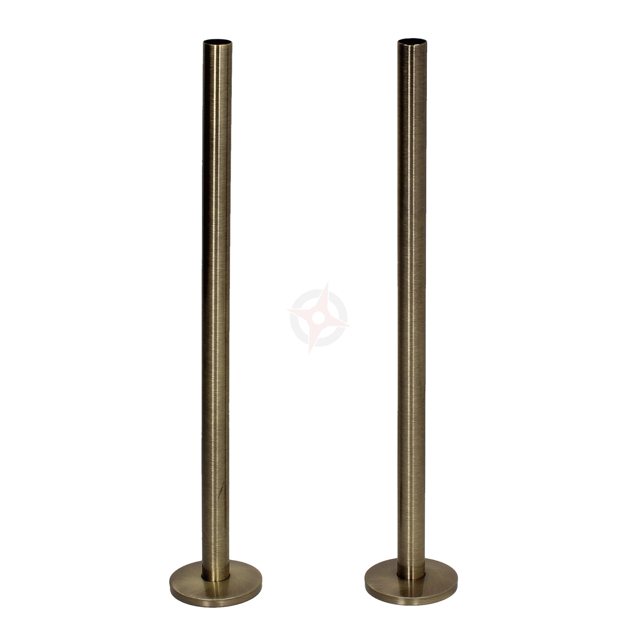 Antique Brass 15mm x 300mm Pipe Tails and Decoration Floor Plates (Pair)