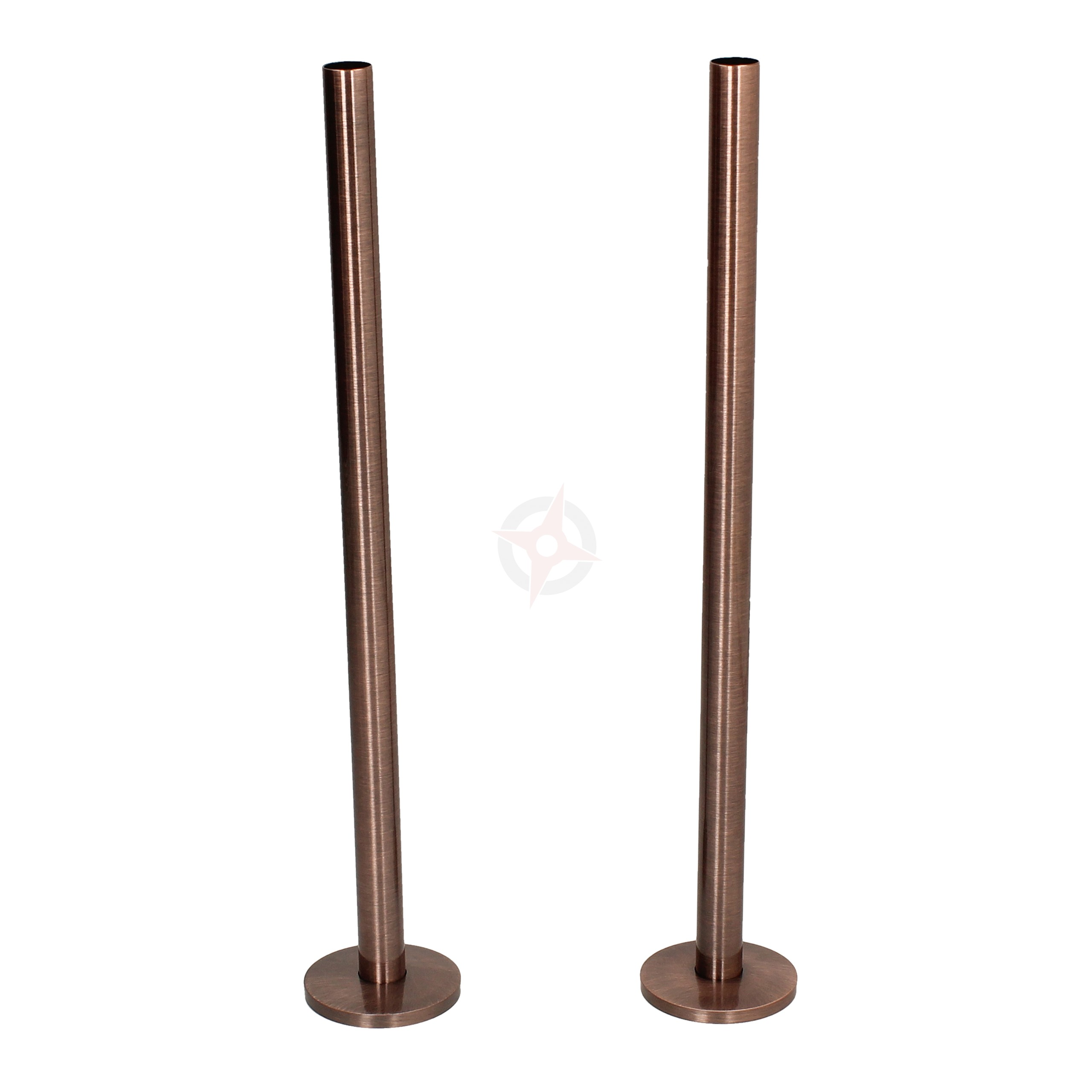 Antique Copper 15mm x 300mm Pipe Tails and Decoration Floor Plates (Pair)