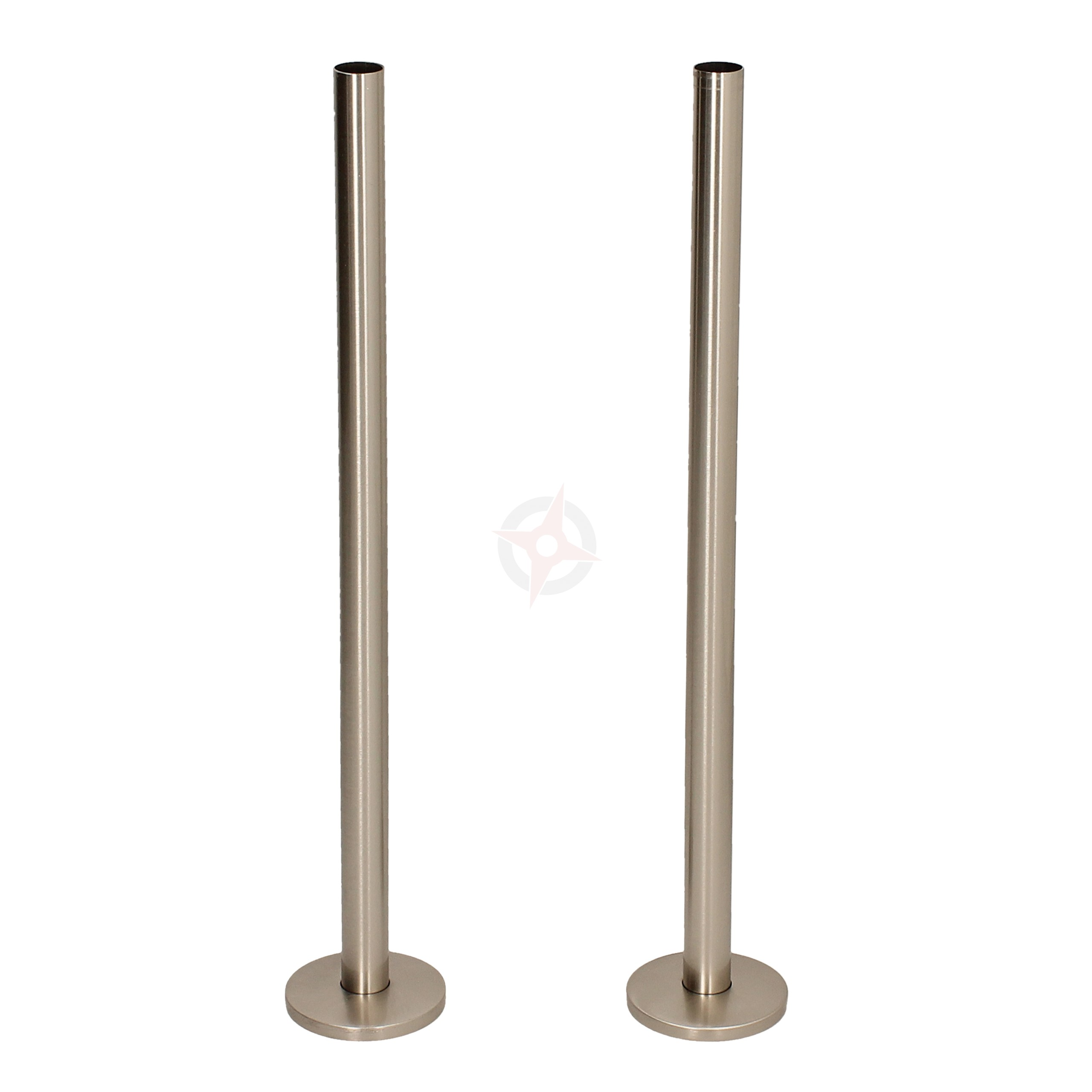 Silver Nickel 15mm x 300mm Pipe Tails and Decoration Floor Plates (Pair)