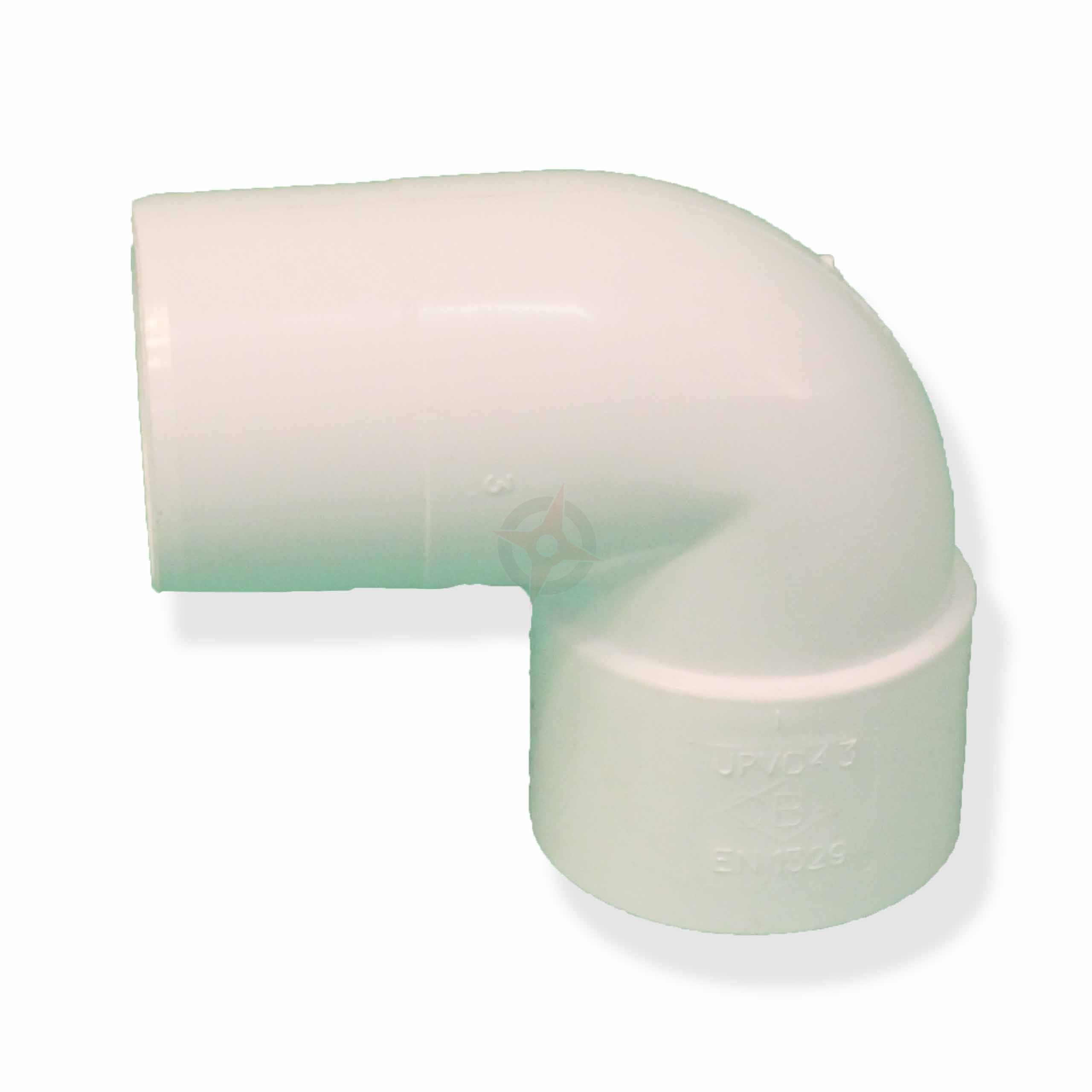 White 43mm Solvent Waste 90 Degree Spigot Bend