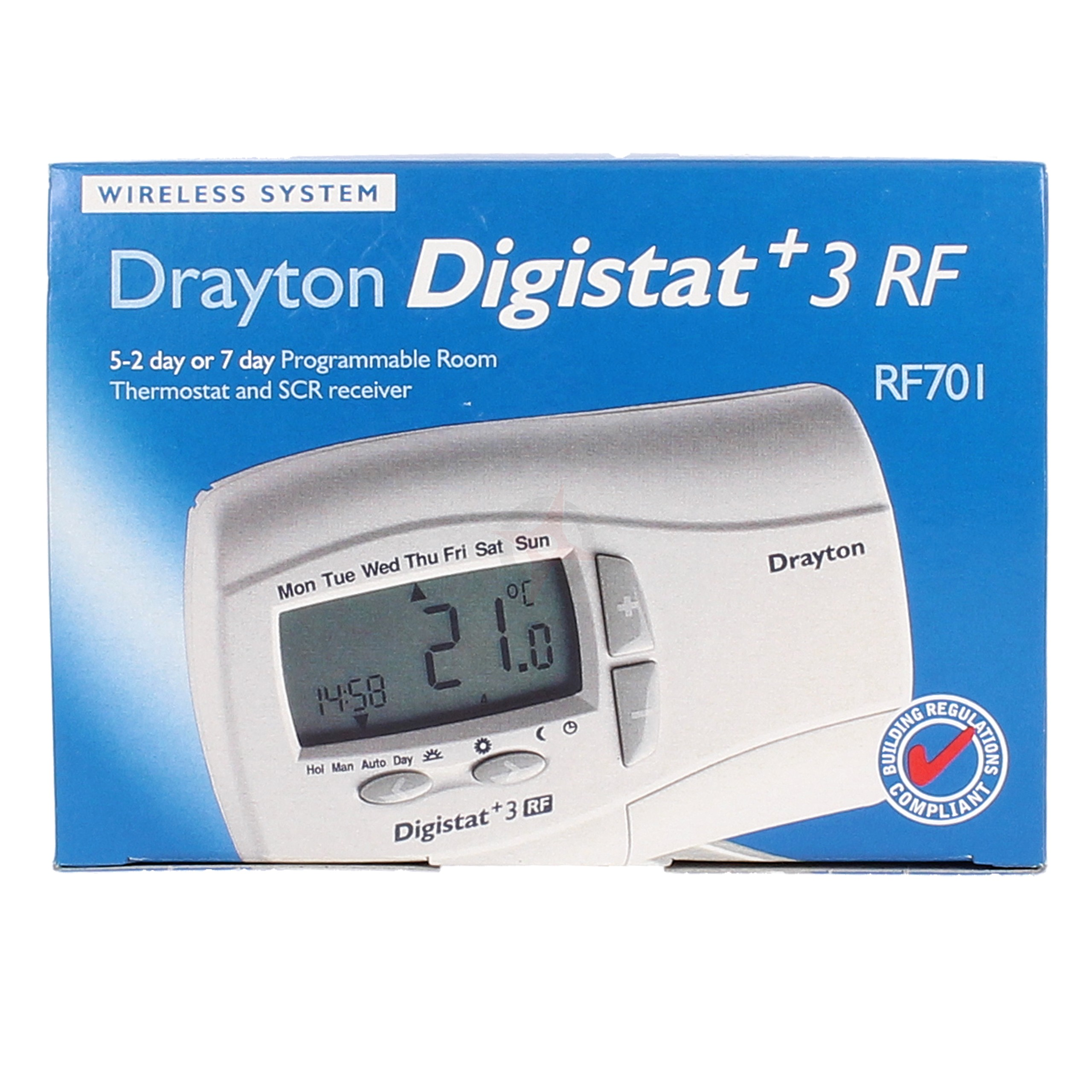 Drayton 5/2 Day or 7 Day Prog. Room Thermostat Digistat+3RF