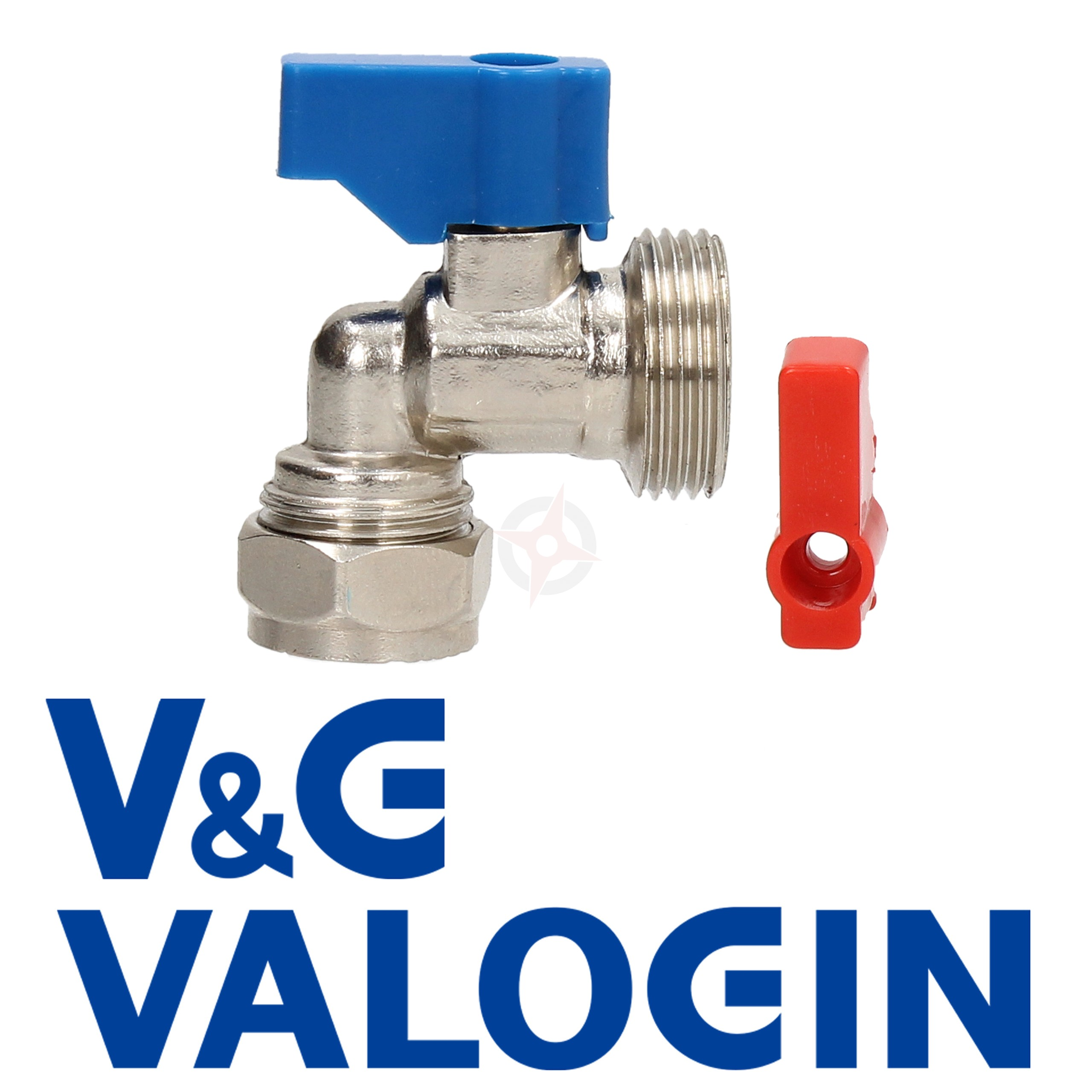 "V&G Chrome 15mm x 3/4"" Angled Washing Machine Valve"