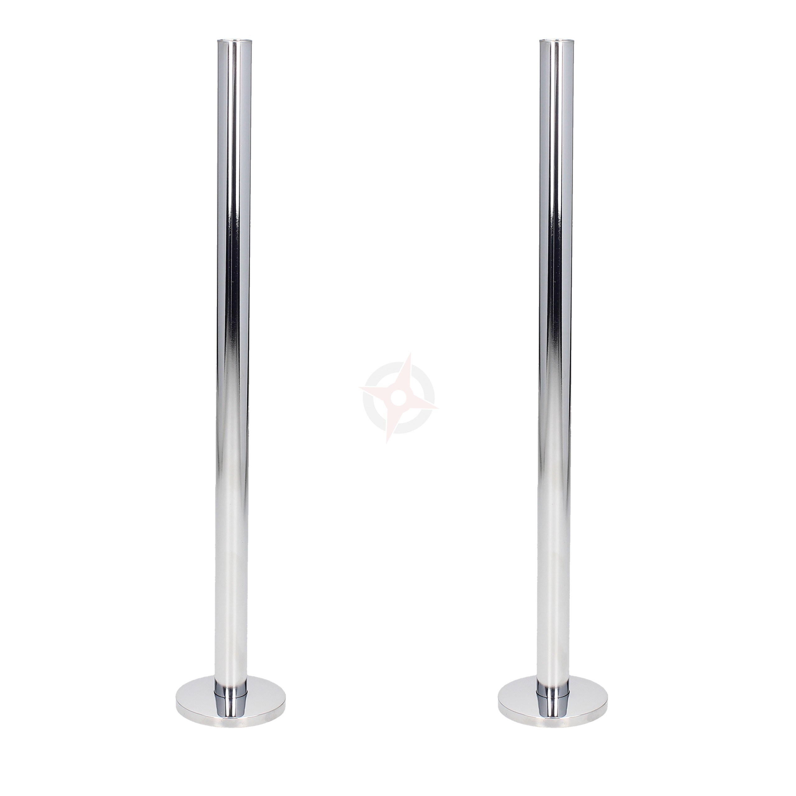 Chrome 15mm x 300mm Tails and Decoration Floor Cover Plates (Pair)