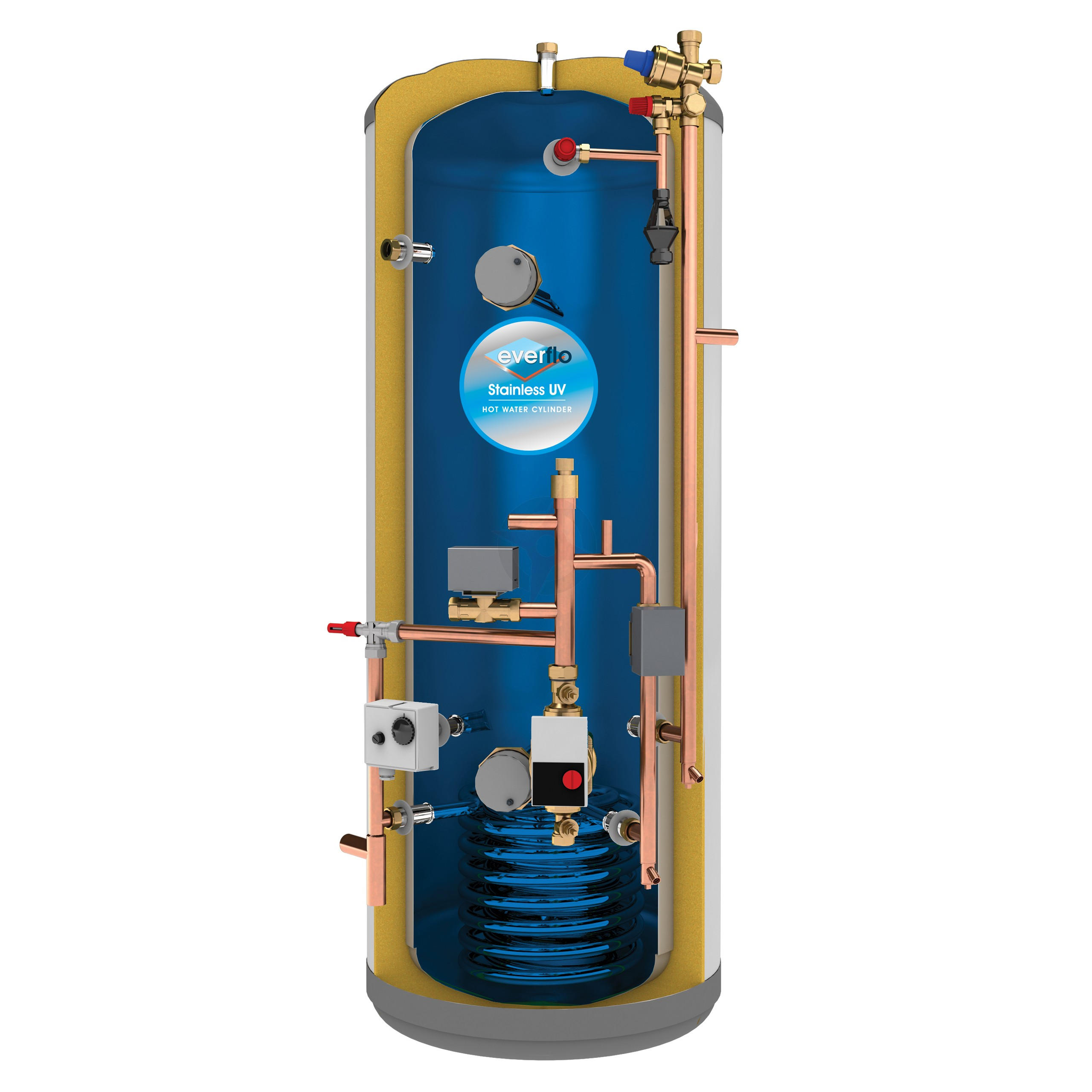 everflo Stainless 250L Pre-Plumbed Unvented Hot Water Storage ...