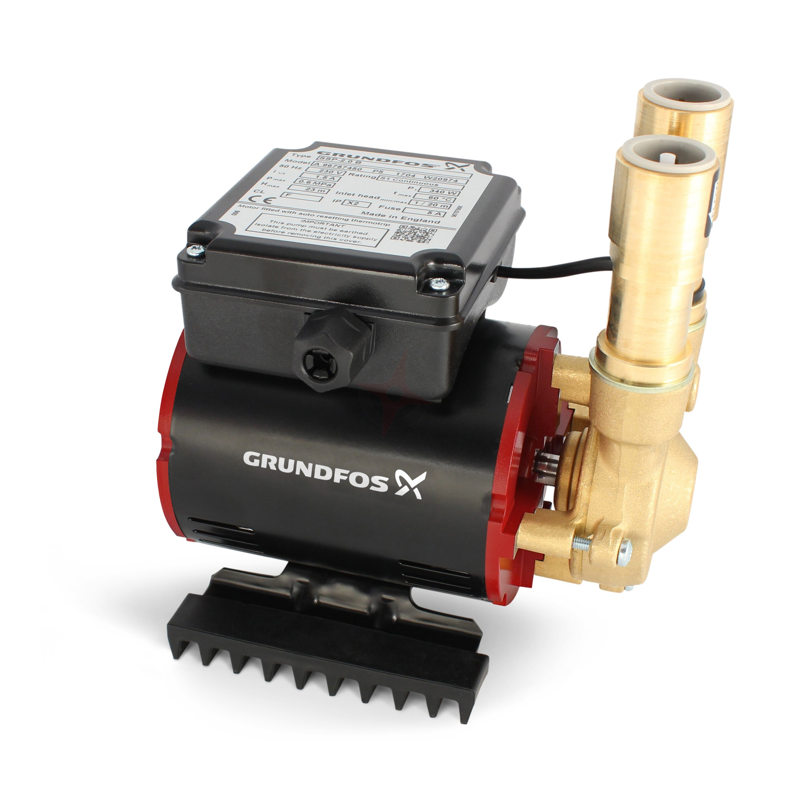 Grundfos Amazon SSP-3.0B Brass Positive 3.0 Bar Single Impeller Shower Pump