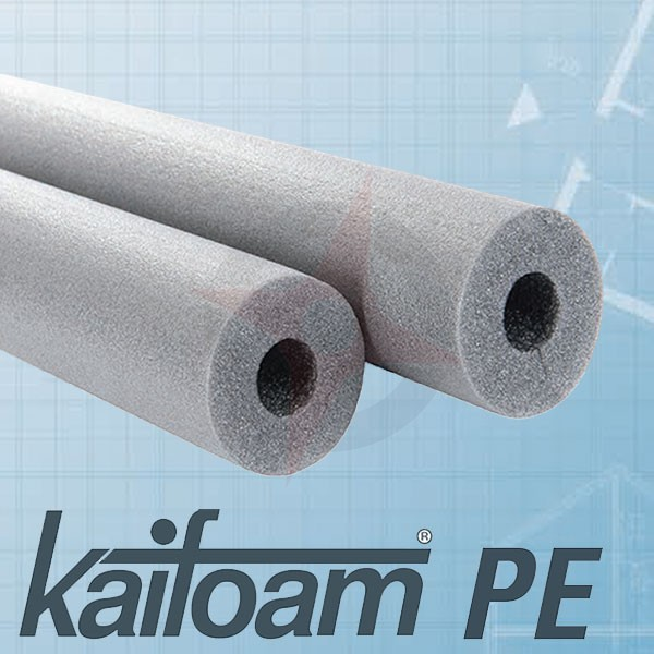 Kaifoam PE 22mm x 20mm wall foam pipe lagging 1mtr