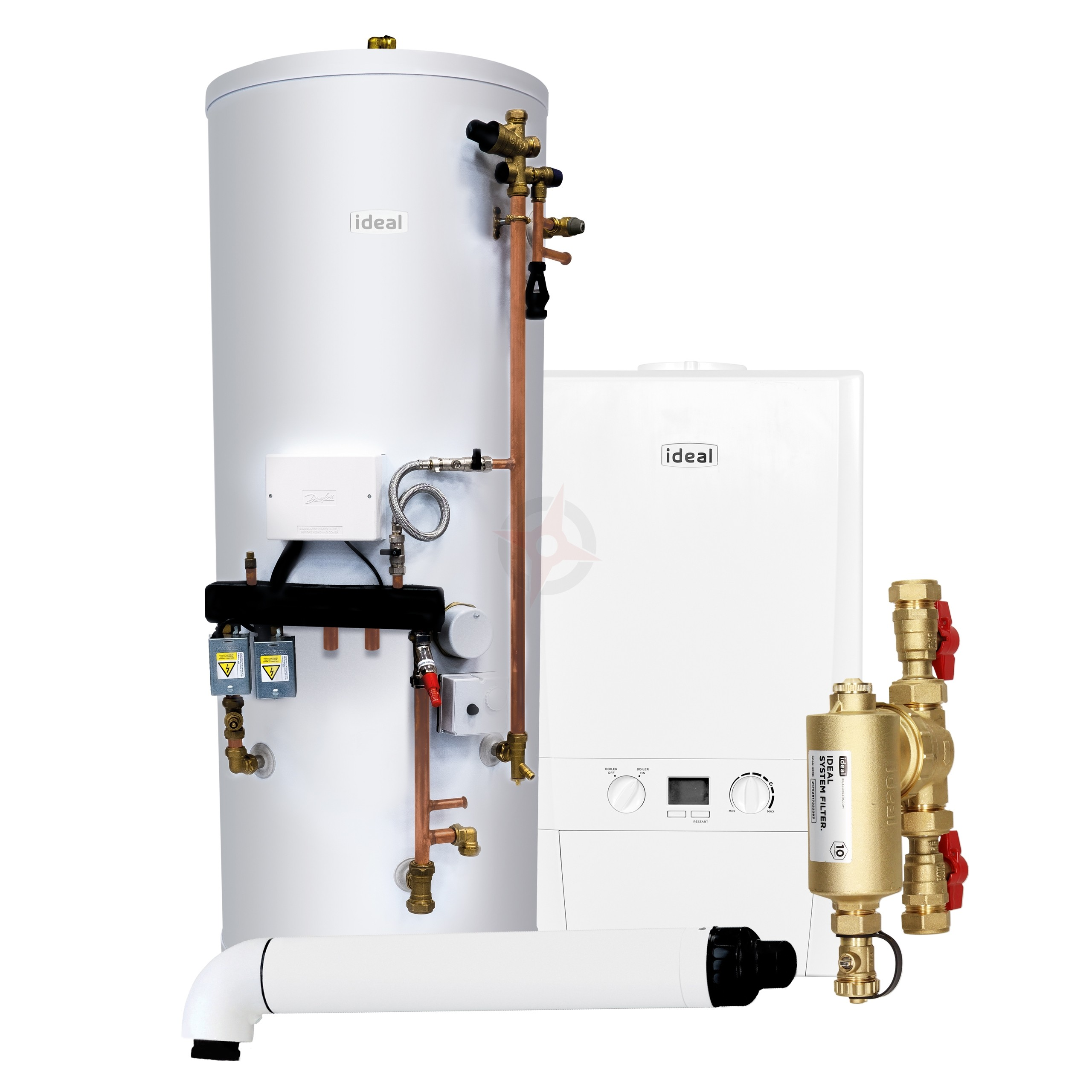 Ideal Logic Max 30 Heat Only Boiler, Filter, Horizontal Flue & System Ready Cylinder