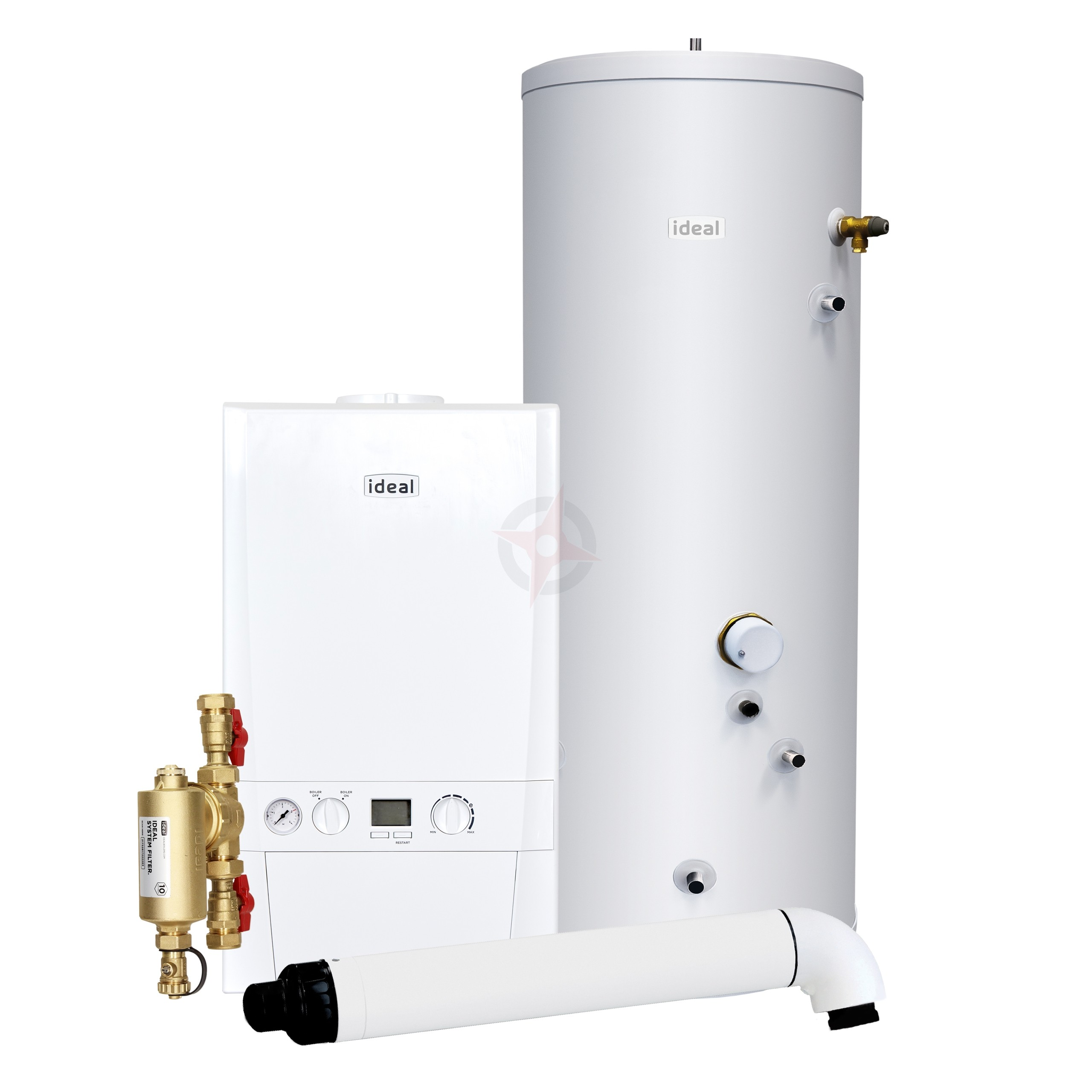 Ideal Logic Max 30 System Boiler, Filter, Horizontal Flue & Indirect Cylinder