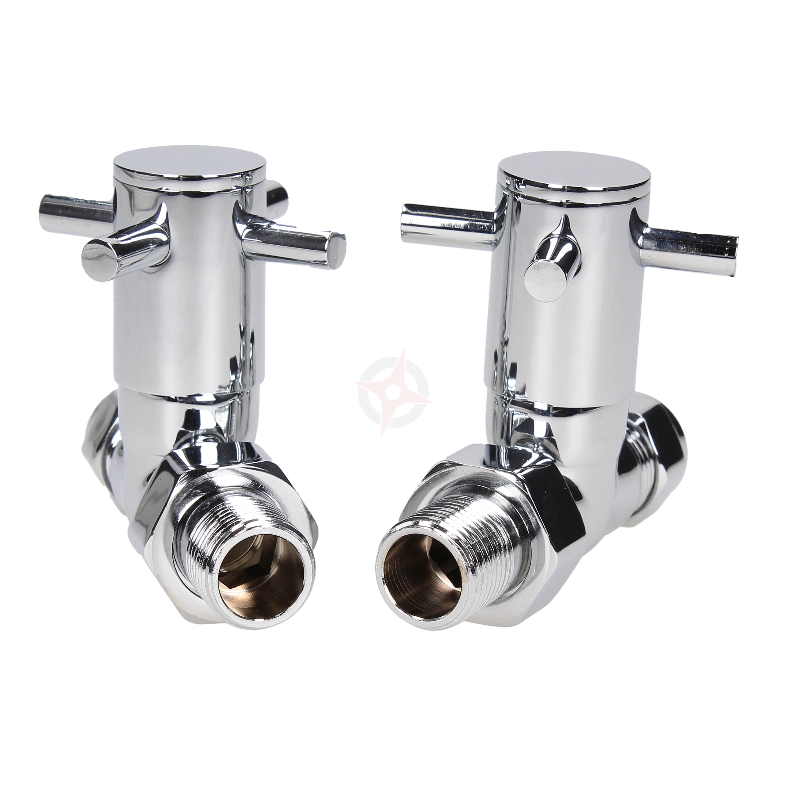 Pair of London Cross Head Straight Wheel Head Radiator Valves