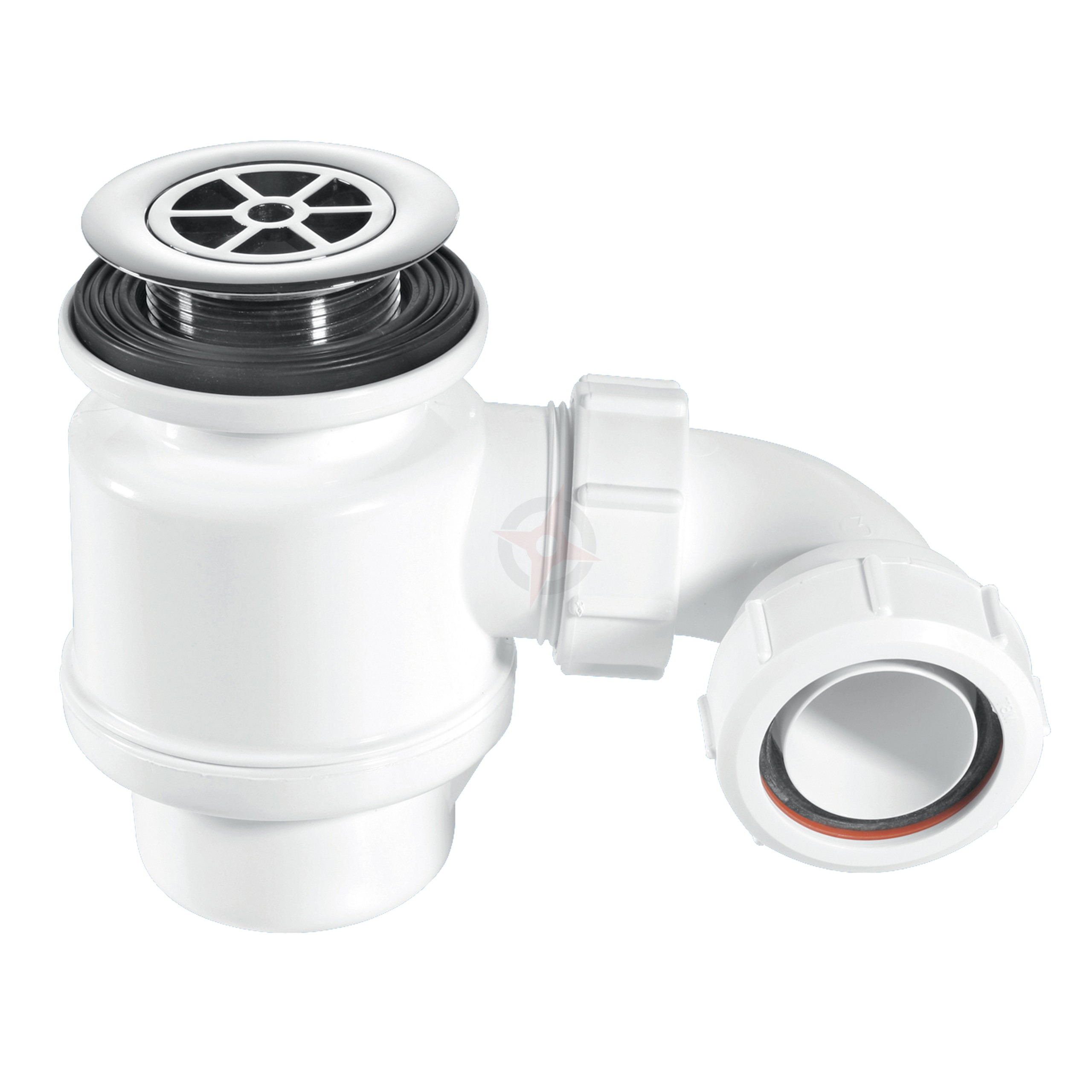 McAlpine 40mm x 50mm Seal White Shower Trap with 70mm Chrome Plastic Flange STW4-R