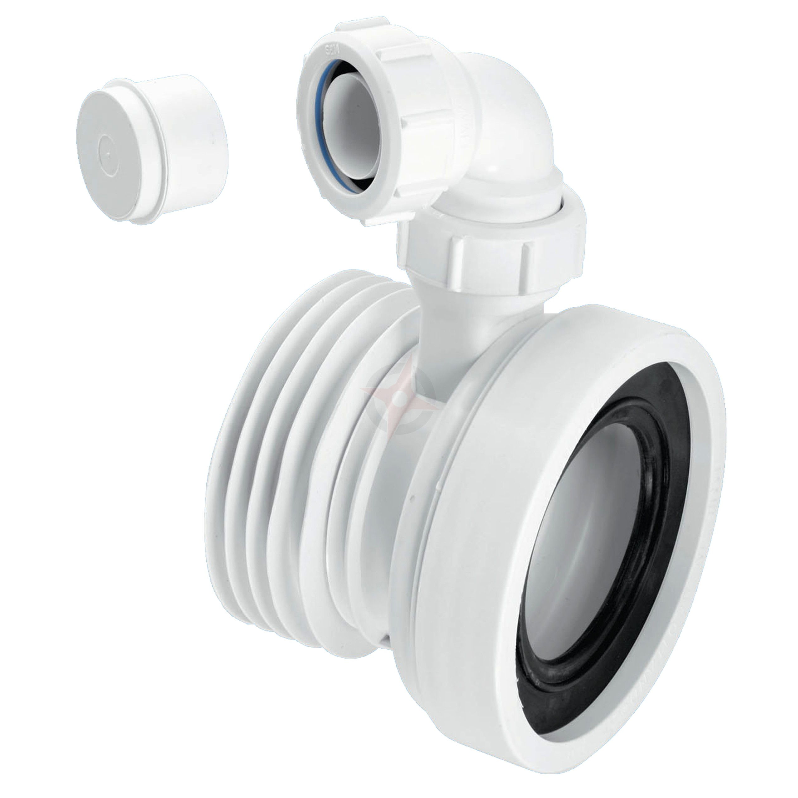 McAlpine 110mm Straight Pan Connector c/w Vent Boss WC-CON1V