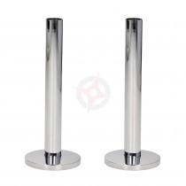 Chrome 15mm x 130mm Tails and Decoration Floor Cover Plates (Pair)