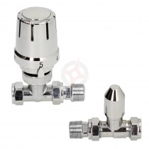 Gold Contract 15mm Straight Full Chrome TRV & Lockshield Twin Pack