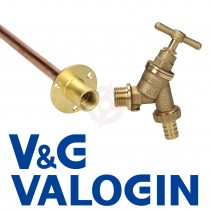 """V&G 1/2"""" Hose Union Bibcock c/w Double Check Valve and V&G 1/2"""" Backplate c/w 15mm Through Wall Tube"""