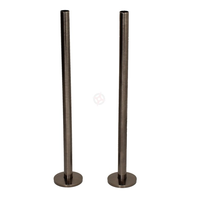 Black Nickel 15mm x 300mm Pipe Tails and Decoration Floor Plates (Pair)