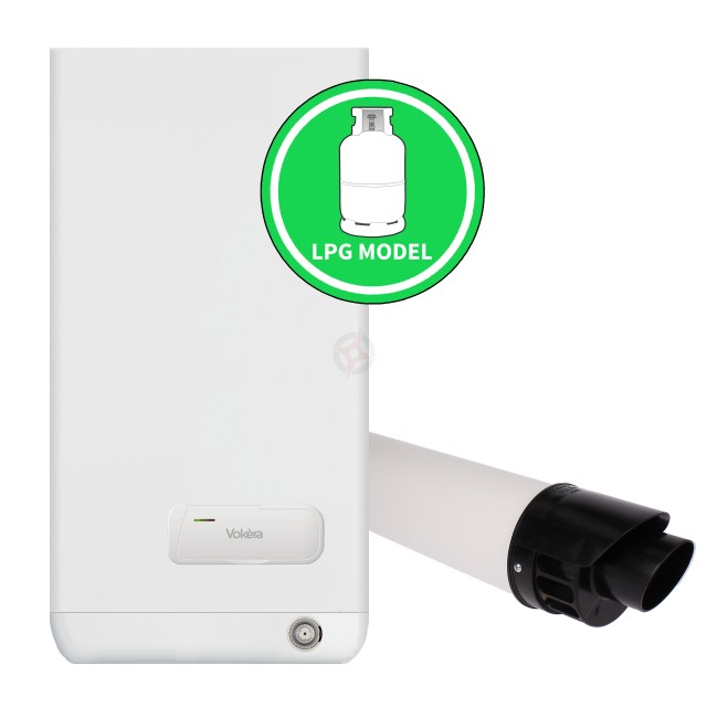 Vokera Easi-Heat Plus 25C (ErP) LPG Combi Boiler, Clock and Flue Kit