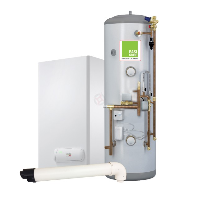 Vokera Easi-Heat Plus 24S System Boiler, Horizontal Flue & Easi-Store System-Fit Cylinder