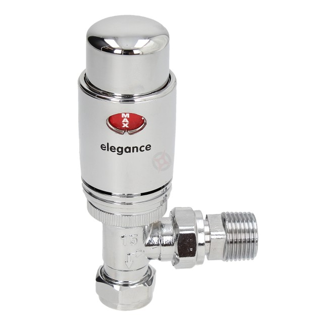 Elegance 15mm Angled All Chrome Thermostatic Radiator Valve