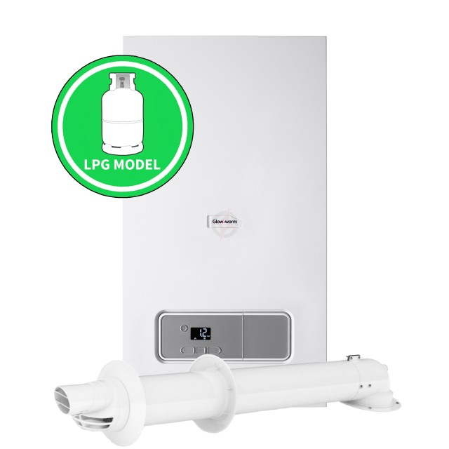 Glow-worm Energy 30C (ErP) LPG Combi Boiler, and Horizontal Flue