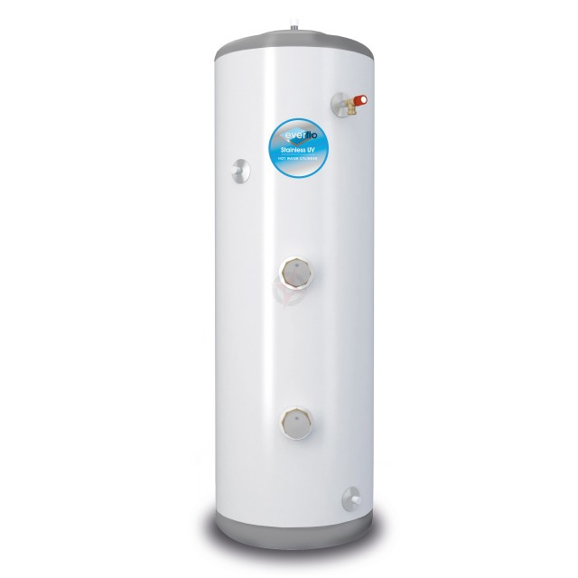everflo Stainless 150L Direct Unvented Hot Water Storage Cylinder & Kit
