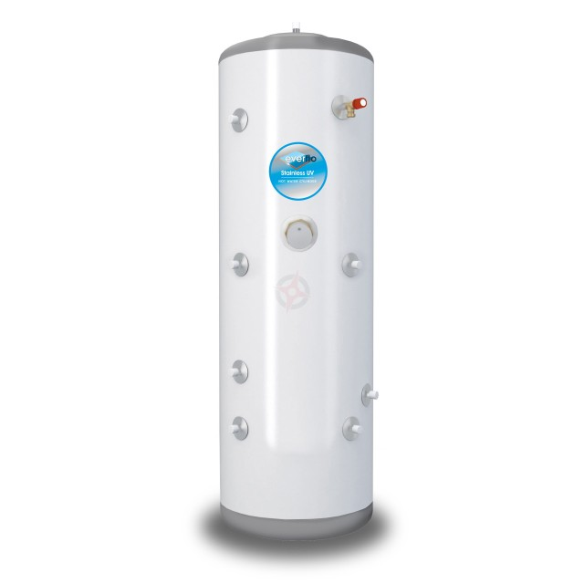 everflo Stainless 180L Twin Coil Unvented Hot Water Storage Cylinder & Kit