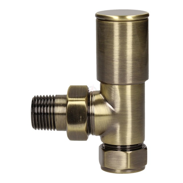 Evolve HP 15mm Antique Brass Angled Wheel Head Valve