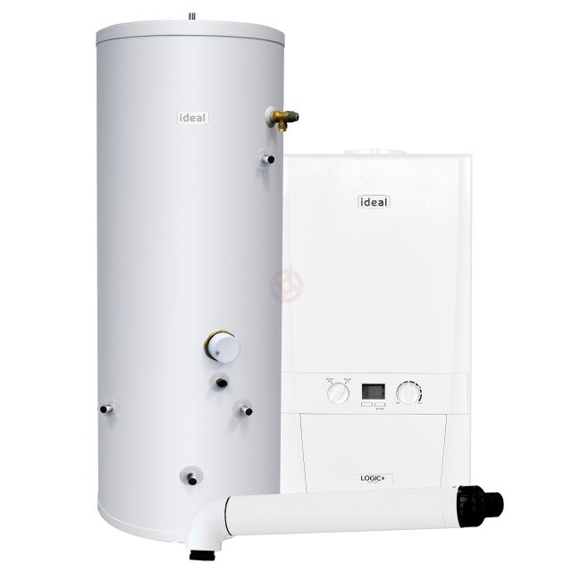 Ideal Logic+ 12 Heat Only Boiler, Horizontal Flue & Indirect Cylinder