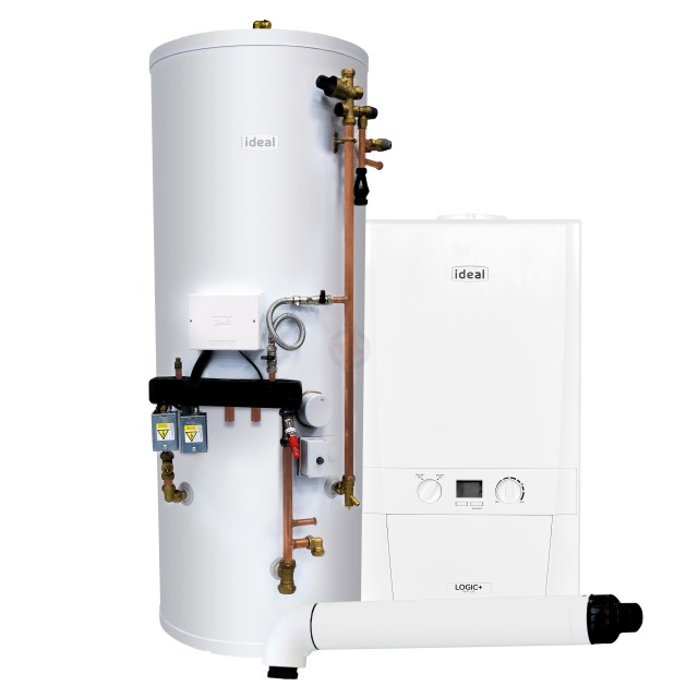 Ideal Logic+ 24 Heat Only Boiler, Horizontal Flue & System Ready Cylinder