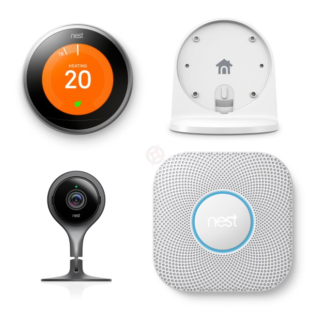 Nest Learning Thermostat, Stand, Protect and Cam Pack