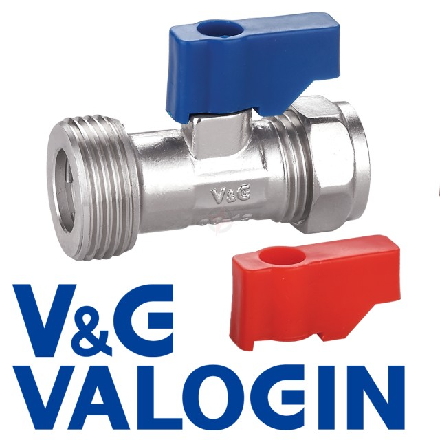 "V&G Chrome 15mm x 3/4"" Straight Washing Machine Valve"